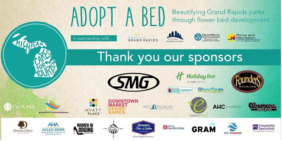 Banner thanking all of the sponsors for participating in Adopt A Bed